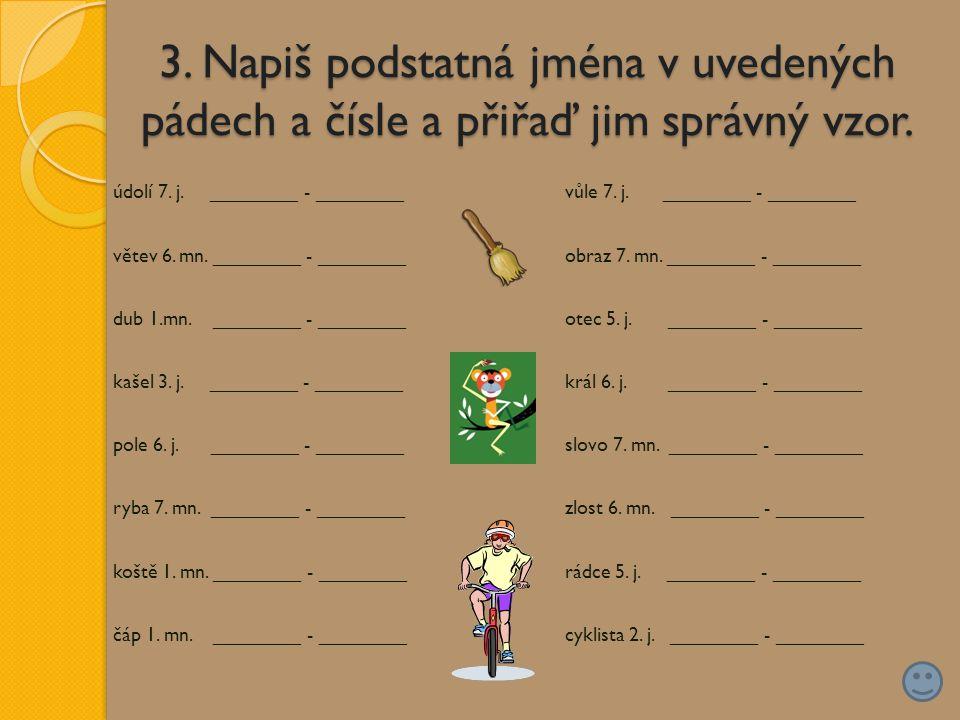 3. Napiš podstatná jména v uvedených pádech a čísle a přiřaď jim správný vzor.