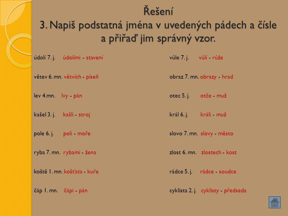 Řešení 3. Napiš podstatná jména v uvedených pádech a čísle a přiřaď jim správný vzor.