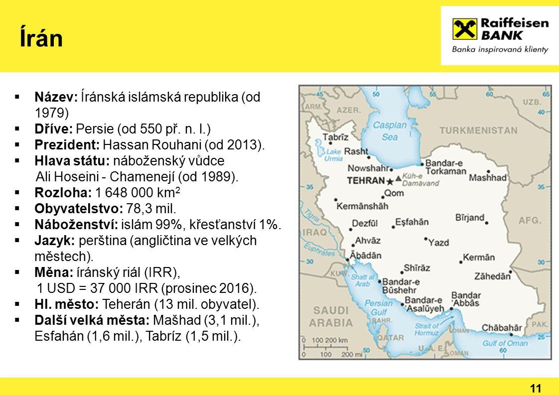 11  Název: Íránská islámská republika (od 1979)  Dříve: Persie (od 550 př. n. l.)  Prezident: Hassan Rouhani (od 2013).  Hlava státu: náboženský v