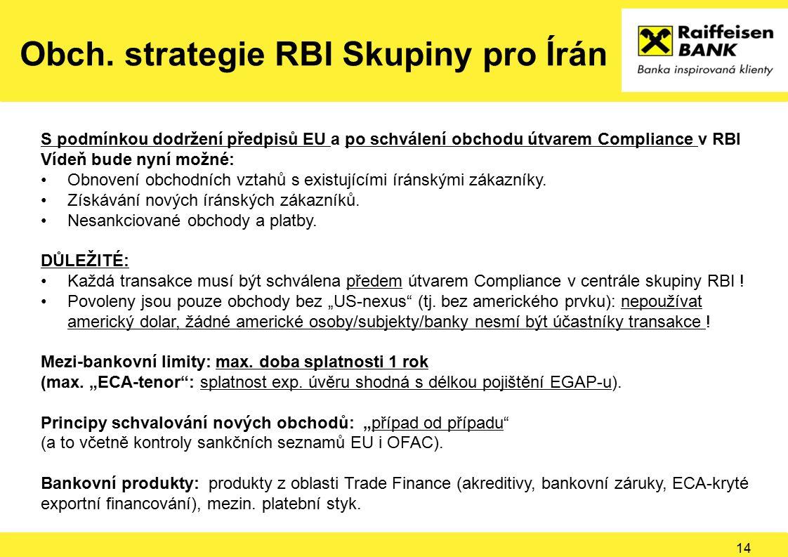Obch. strategie RBI Skupiny pro Írán S podmínkou dodržení předpisů EU a po schválení obchodu útvarem Compliance v RBI Vídeň bude nyní možné: Obnovení