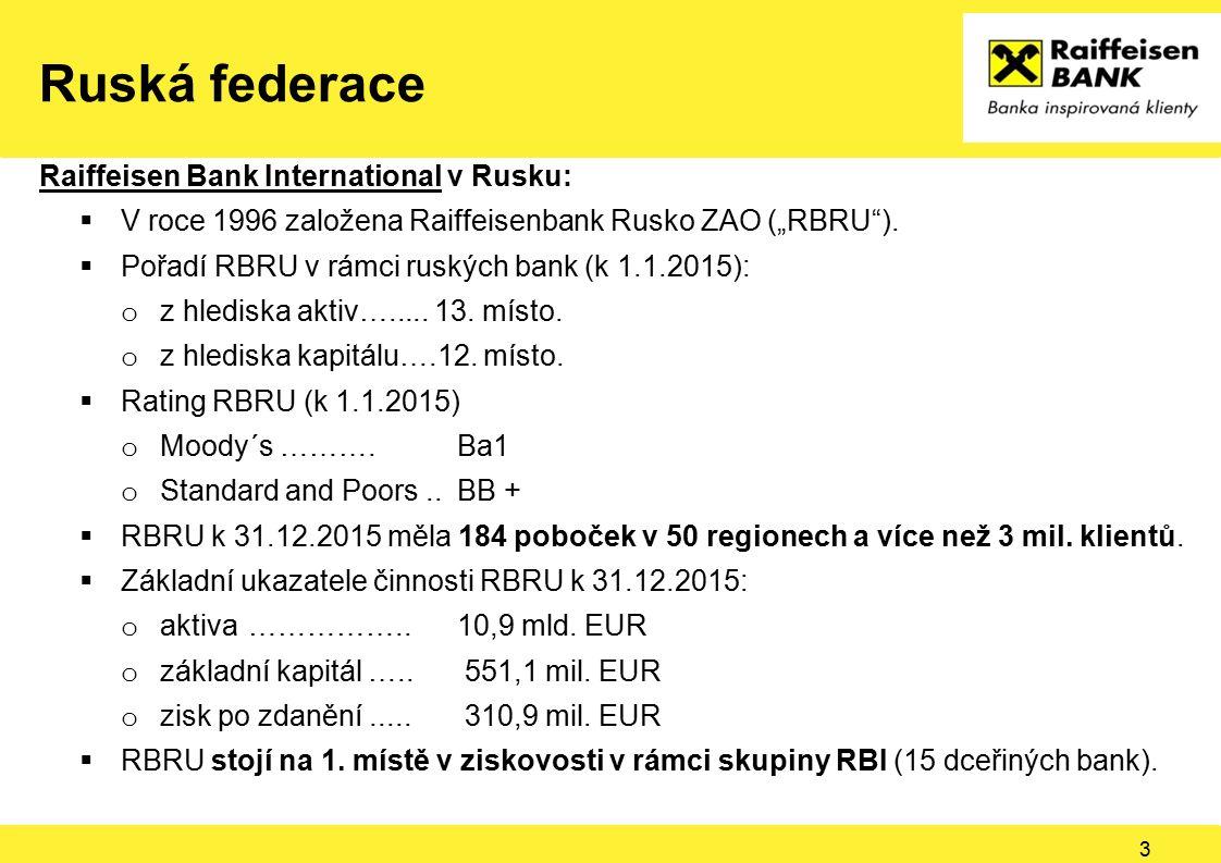 "Ruská federace Raiffeisen Bank International v Rusku:  V roce 1996 založena Raiffeisenbank Rusko ZAO (""RBRU"").  Pořadí RBRU v rámci ruských bank (k"