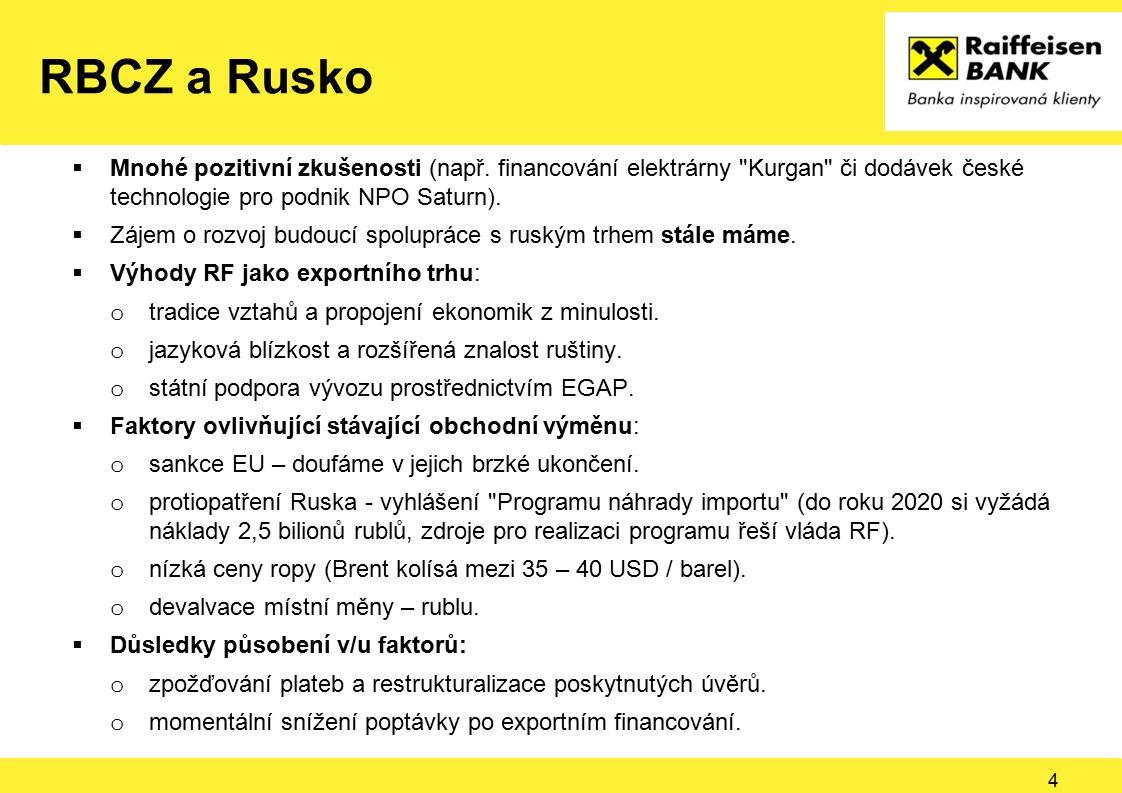 RBCZ a Rusko 5  Možné způsoby řešení: o zakládání společných podniků a dceřiných společností v RF a prodej jejich produkce konečným uživatelům v rublech (příklad Kovosvit MAS a.s.).