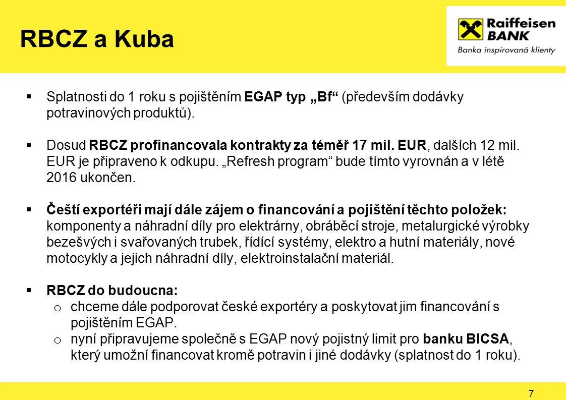 """RBCZ a Kuba  Splatnosti do 1 roku s pojištěním EGAP typ """"Bf"""" (především dodávky potravinových produktů).  Dosud RBCZ profinancovala kontrakty za tém"""