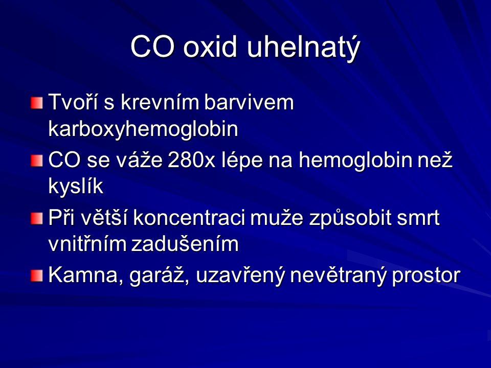 CO oxid uhelnatý Tvoří s krevním barvivem karboxyhemoglobin CO se váže 280x lépe na hemoglobin než kyslík Při větší koncentraci muže způsobit smrt vnitřním zadušením Kamna, garáž, uzavřený nevětraný prostor