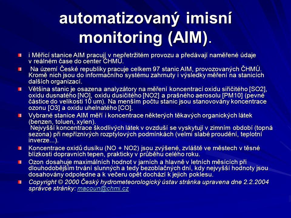 automatizovaný imisní monitoring (AIM).