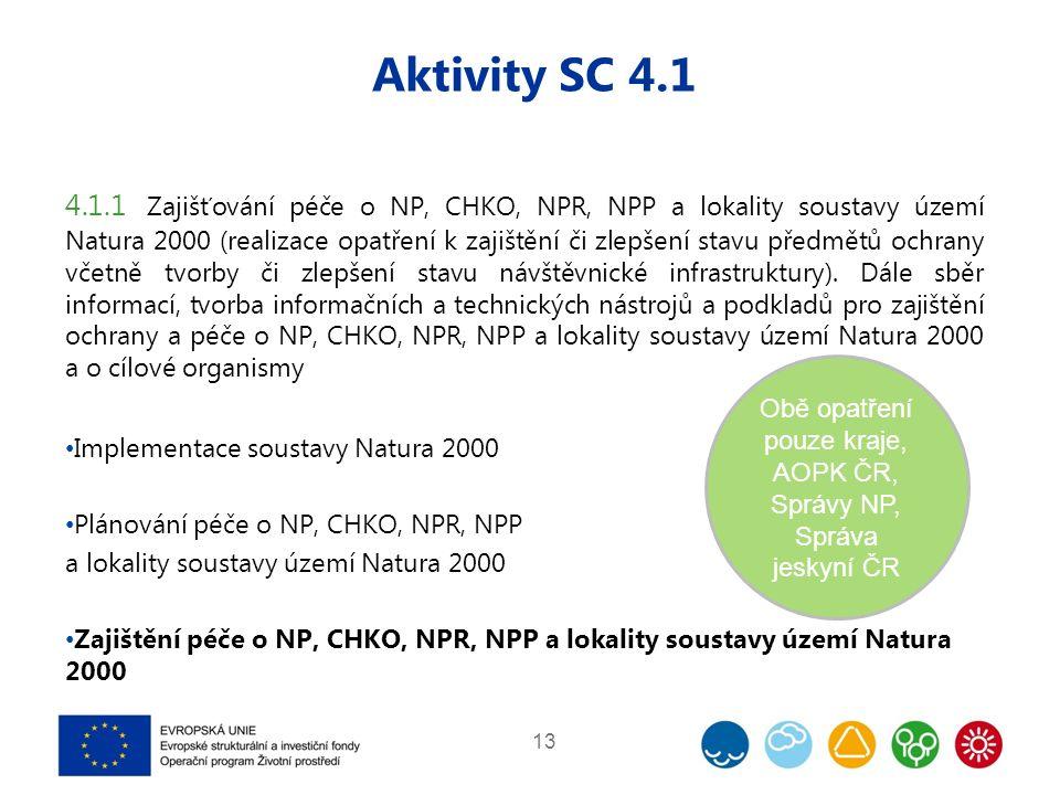 Aktivity SC 4.1 4.1.1 Zajišťování péče o NP, CHKO, NPR, NPP a lokality soustavy území Natura 2000 (realizace opatření k zajištění či zlepšení stavu předmětů ochrany včetně tvorby či zlepšení stavu návštěvnické infrastruktury).