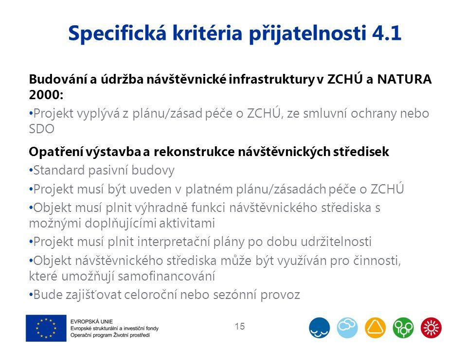 Specifická kritéria přijatelnosti 4.1 Budování a údržba návštěvnické infrastruktury v ZCHÚ a NATURA 2000: Projekt vyplývá z plánu/zásad péče o ZCHÚ, z