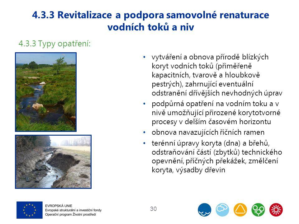 4.3.3 Revitalizace a podpora samovolné renaturace vodních toků a niv 30 4.3.3 Typy opatření: vytváření a obnova přírodě blízkých koryt vodních toků (přiměřeně kapacitních, tvarově a hloubkově pestrých), zahrnující eventuální odstranění dřívějších nevhodných úprav podpůrná opatření na vodním toku a v nivě umožňující přirozené korytotvorné procesy v delším časovém horizontu obnova navazujících říčních ramen terénní úpravy koryta (dna) a břehů, odstraňování částí (zbytků) technického opevnění, příčných překážek, změlčení koryta, výsadby dřevin