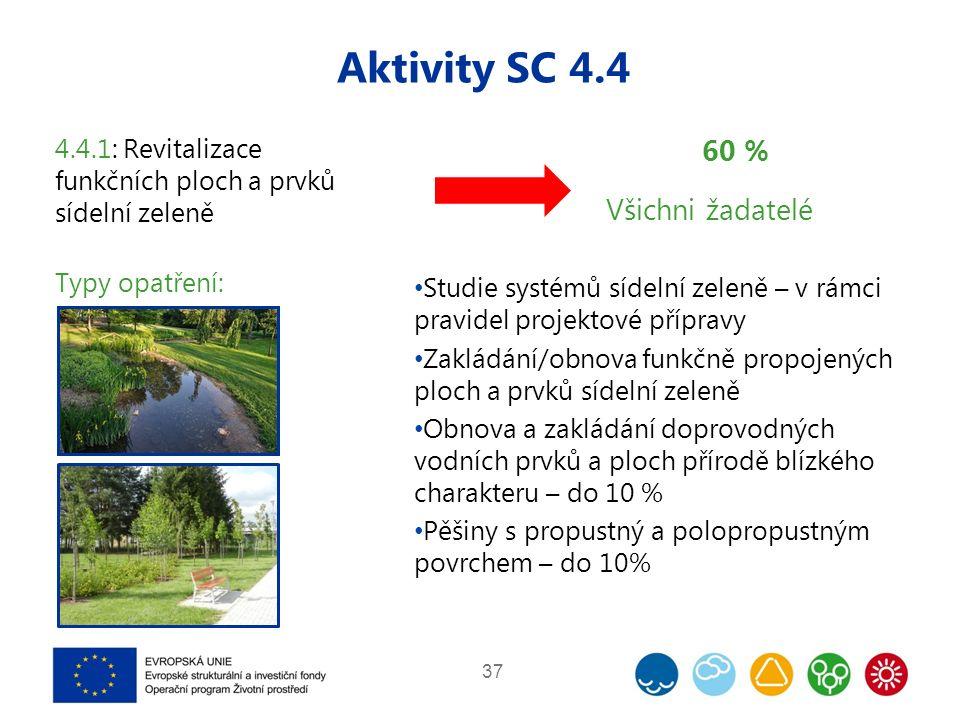 Aktivity SC 4.4 37 4.4.1: Revitalizace funkčních ploch a prvků sídelní zeleně Typy opatření: 60 % Všichni žadatelé Studie systémů sídelní zeleně – v rámci pravidel projektové přípravy Zakládání/obnova funkčně propojených ploch a prvků sídelní zeleně Obnova a zakládání doprovodných vodních prvků a ploch přírodě blízkého charakteru – do 10 % Pěšiny s propustný a polopropustným povrchem – do 10%
