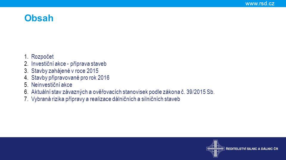 www.rsd.cz Obsah 1.Rozpočet 2.Investiční akce - příprava staveb 3.Stavby zahájené v roce 2015 4.Stavby připravované pro rok 2016 5.Neinvestiční akce 6.Aktuální stav závazných a ověřovacích stanovisek podle zákona č.