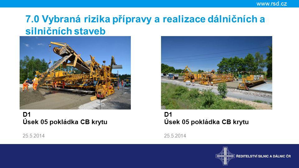 www.rsd.cz 7.0 Vybraná rizika přípravy a realizace dálničních a silničních staveb D1 Úsek 05 pokládka CB krytu 25.5.2014 D1 Úsek 05 pokládka CB krytu 25.5.2014