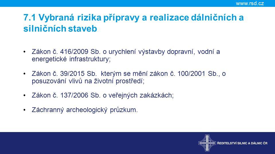 www.rsd.cz 7.1 Vybraná rizika přípravy a realizace dálničních a silničních staveb Zákon č.