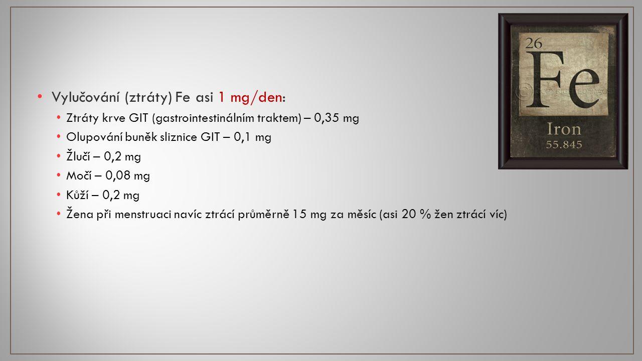 Vylučování (ztráty) Fe asi 1 mg/den: Ztráty krve GIT (gastrointestinálním traktem) – 0,35 mg Olupování buněk sliznice GIT – 0,1 mg Žlučí – 0,2 mg Močí – 0,08 mg Kůží – 0,2 mg Žena při menstruaci navíc ztrácí průměrně 15 mg za měsíc (asi 20 % žen ztrácí víc)