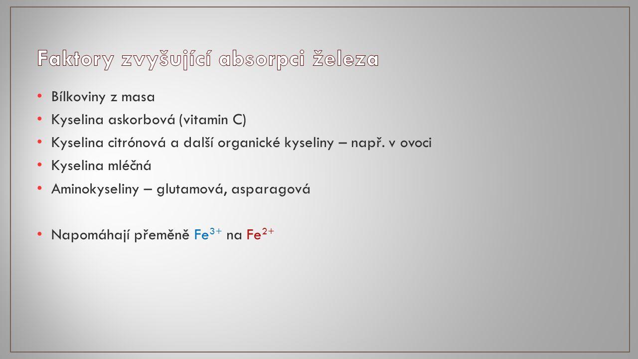 Bílkoviny z masa Kyselina askorbová (vitamin C) Kyselina citrónová a další organické kyseliny – např.
