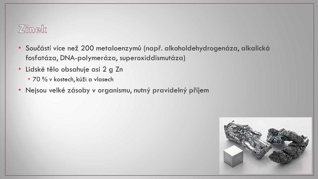 Součástí více než 200 metaloenzymů (např.
