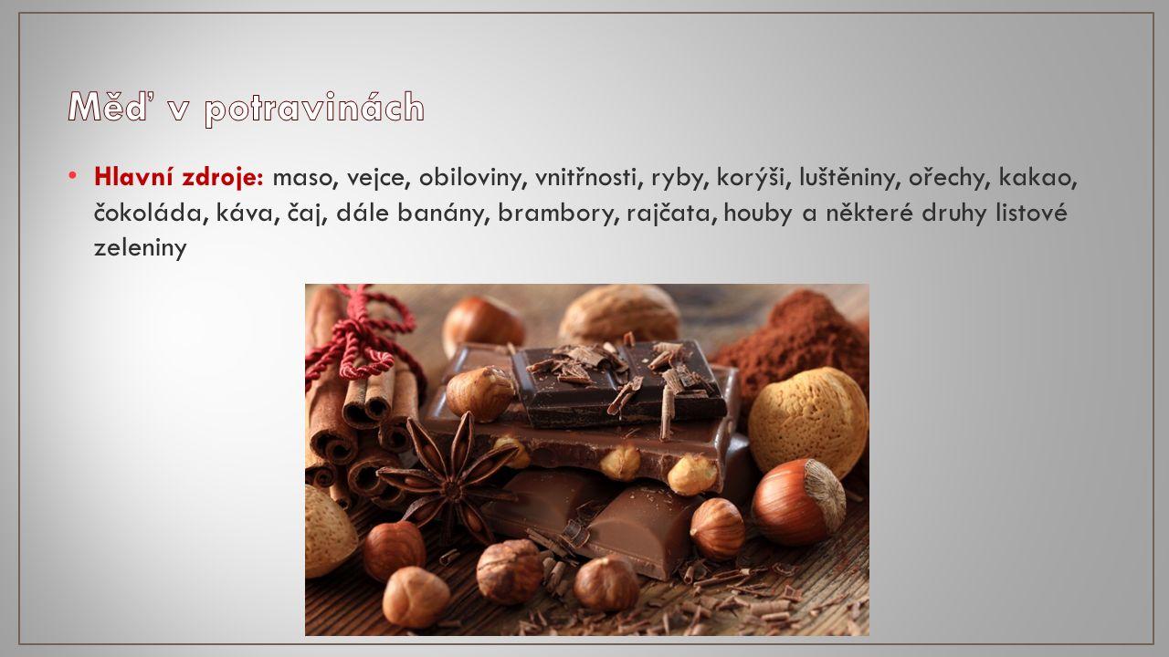 Hlavní zdroje: maso, vejce, obiloviny, vnitřnosti, ryby, korýši, luštěniny, ořechy, kakao, čokoláda, káva, čaj, dále banány, brambory, rajčata, houby a některé druhy listové zeleniny
