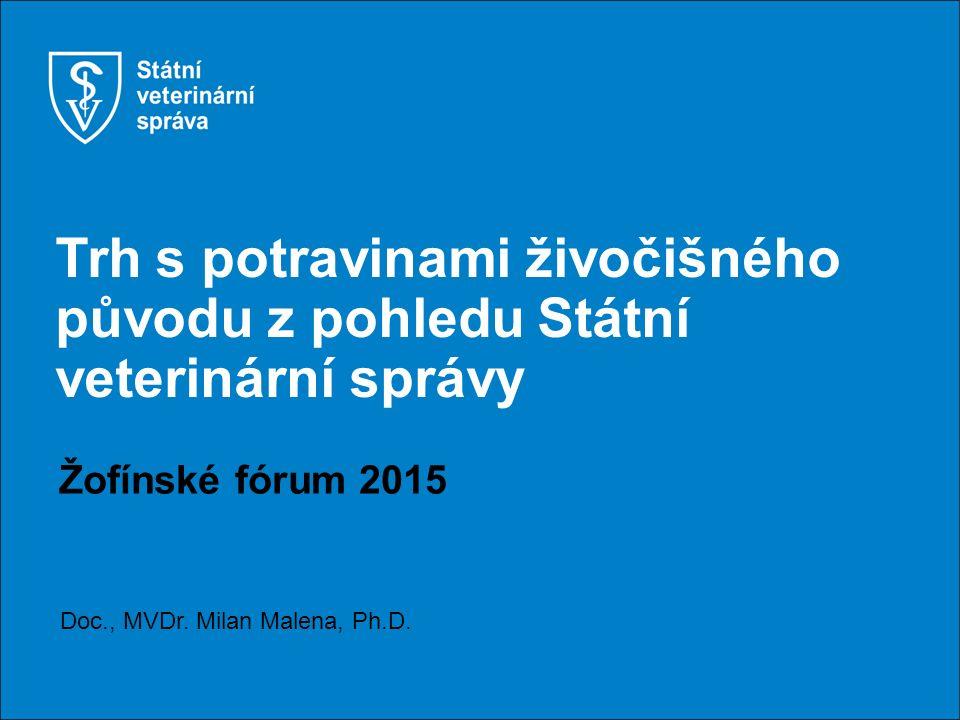 Trh s potravinami živočišného původu z pohledu Státní veterinární správy Žofínské fórum 2015 Doc., MVDr.