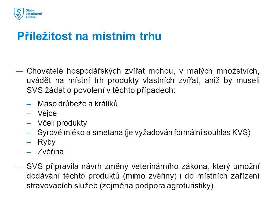 ―Chovatelé hospodářských zvířat mohou, v malých množstvích, uvádět na místní trh produkty vlastních zvířat, aniž by museli SVS žádat o povolení v těchto případech: –Maso drůbeže a králíků –Vejce –Včelí produkty –Syrové mléko a smetana (je vyžadován formální souhlas KVS) –Ryby –Zvěřina ―SVS připravila návrh změny veterinárního zákona, který umožní dodávání těchto produktů (mimo zvěřiny) i do místních zařízení stravovacích služeb (zejména podpora agroturistiky) Příležitost na místním trhu