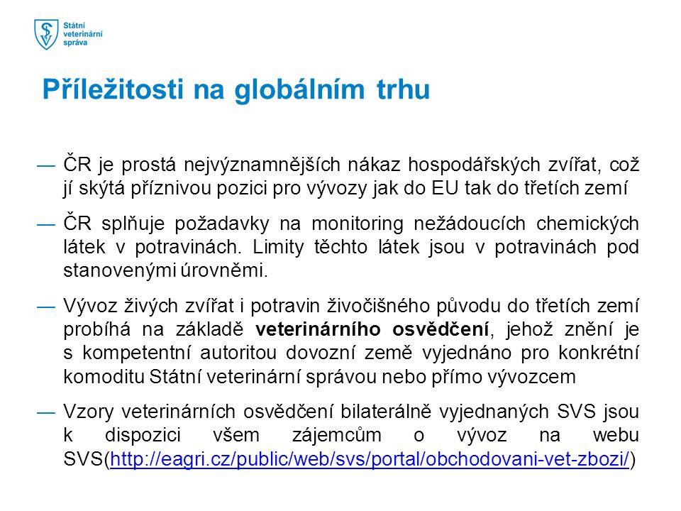 ―ČR je prostá nejvýznamnějších nákaz hospodářských zvířat, což jí skýtá příznivou pozici pro vývozy jak do EU tak do třetích zemí ―ČR splňuje požadavky na monitoring nežádoucích chemických látek v potravinách.