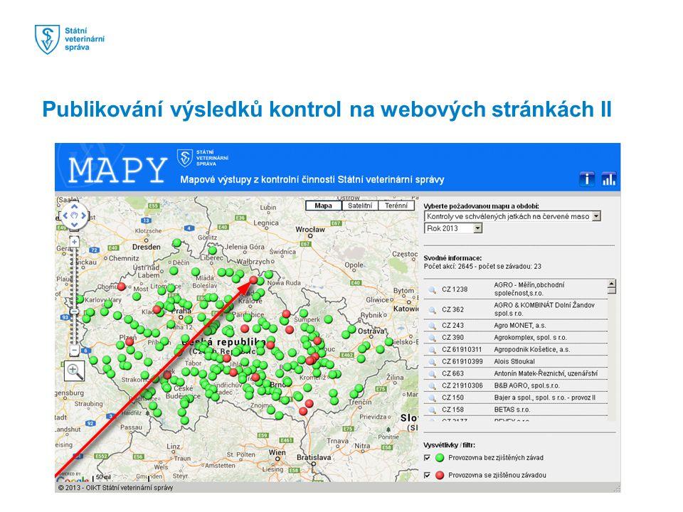 Publikování výsledků kontrol na webových stránkách II