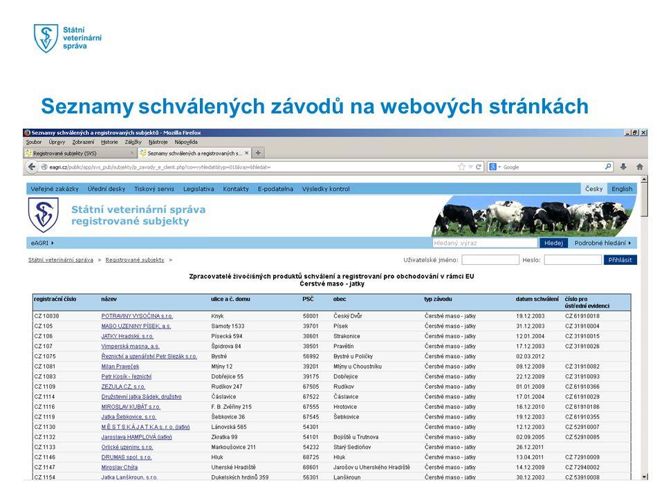 Seznamy schválených závodů na webových stránkách
