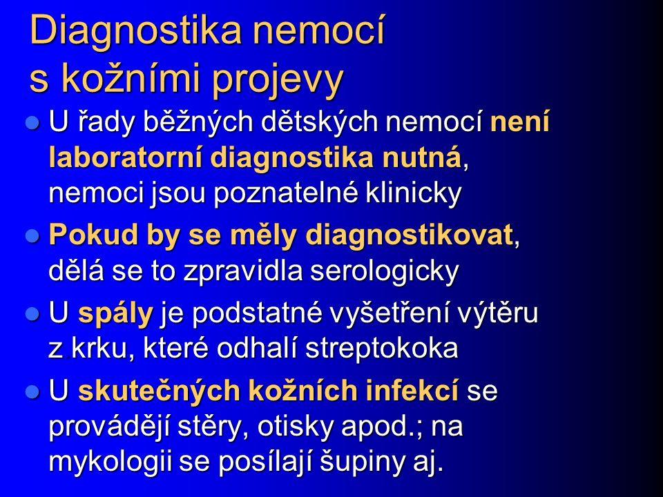 Diagnostika nemocí s kožními projevy U řady běžných dětských nemocí není laboratorní diagnostika nutná, nemoci jsou poznatelné klinicky U řady běžných
