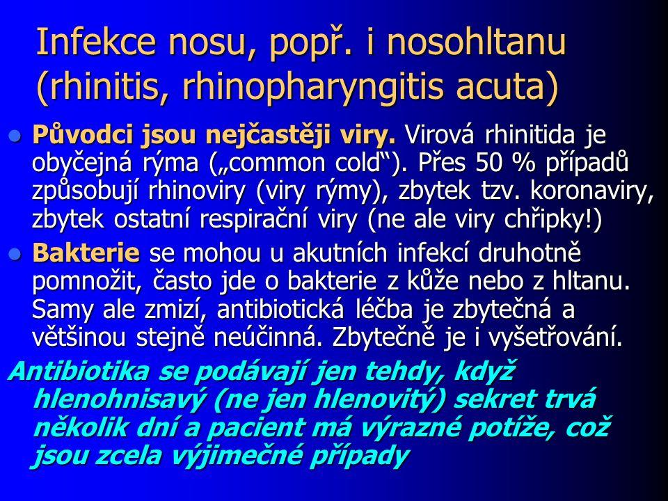 Záněty přínosních dutin (sinusitis acuta) Přechodný zánětlivý nález v dutinách je normální při klasické rýmě a není důvodem k léčbě (ani při rtg nálezu) Přechodný zánětlivý nález v dutinách je normální při klasické rýmě a není důvodem k léčbě (ani při rtg nálezu) Důvodem k léčbě je bolestivý zánět dutin, který se projevuje bolestí zubů, hlavy, horečkou a apod.