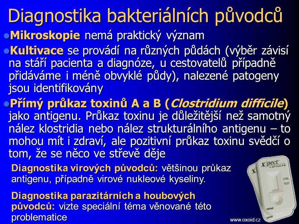 Diagnostika bakteriálních původců Mikroskopie nemá praktický význam Mikroskopie nemá praktický význam Kultivace se provádí na různých půdách (výběr zá