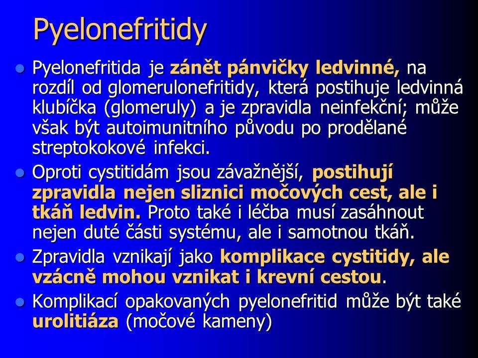 Pyelonefritidy Pyelonefritida je zánět pánvičky ledvinné, na rozdíl od glomerulonefritidy, která postihuje ledvinná klubíčka (glomeruly) a je zpravidl