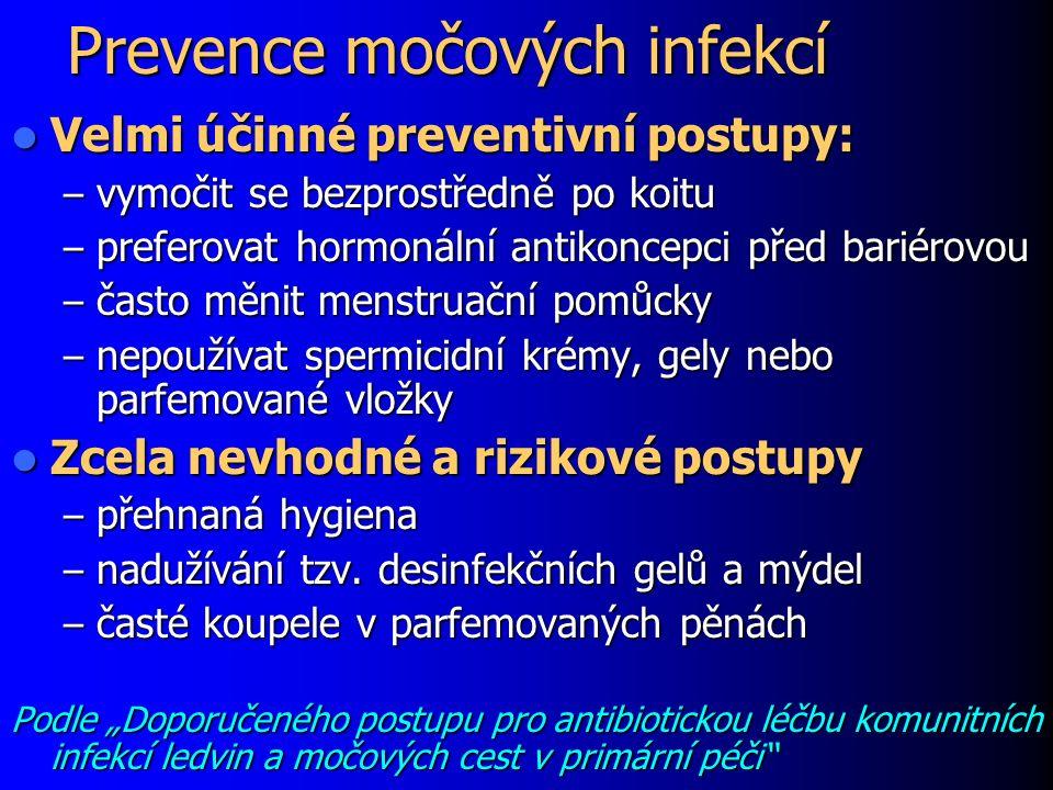 Prevence močových infekcí Velmi účinné preventivní postupy: Velmi účinné preventivní postupy: – vymočit se bezprostředně po koitu – preferovat hormoná