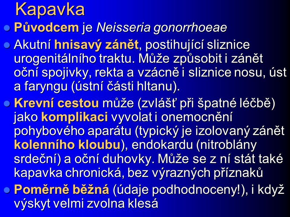 Kapavka Původcem je Neisseria gonorrhoeae Původcem je Neisseria gonorrhoeae Akutní hnisavý zánět, postihující sliznice urogenitálního traktu. Může způ