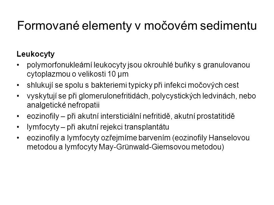 Formované elementy v močovém sedimentu Leukocyty polymorfonukleární leukocyty jsou okrouhlé buňky s granulovanou cytoplazmou o velikosti 10 µm shlukují se spolu s bakteriemi typicky při infekci močových cest vyskytují se při glomerulonefritidách, polycystických ledvinách, nebo analgetické nefropatii eozinofily – při akutní intersticiální nefritidě, akutní prostatitidě lymfocyty – při akutní rejekci transplantátu eozinofily a lymfocyty ozřejmíme barvením (eozinofily Hanselovou metodou a lymfocyty May-Grünwald-Giemsovou metodou)