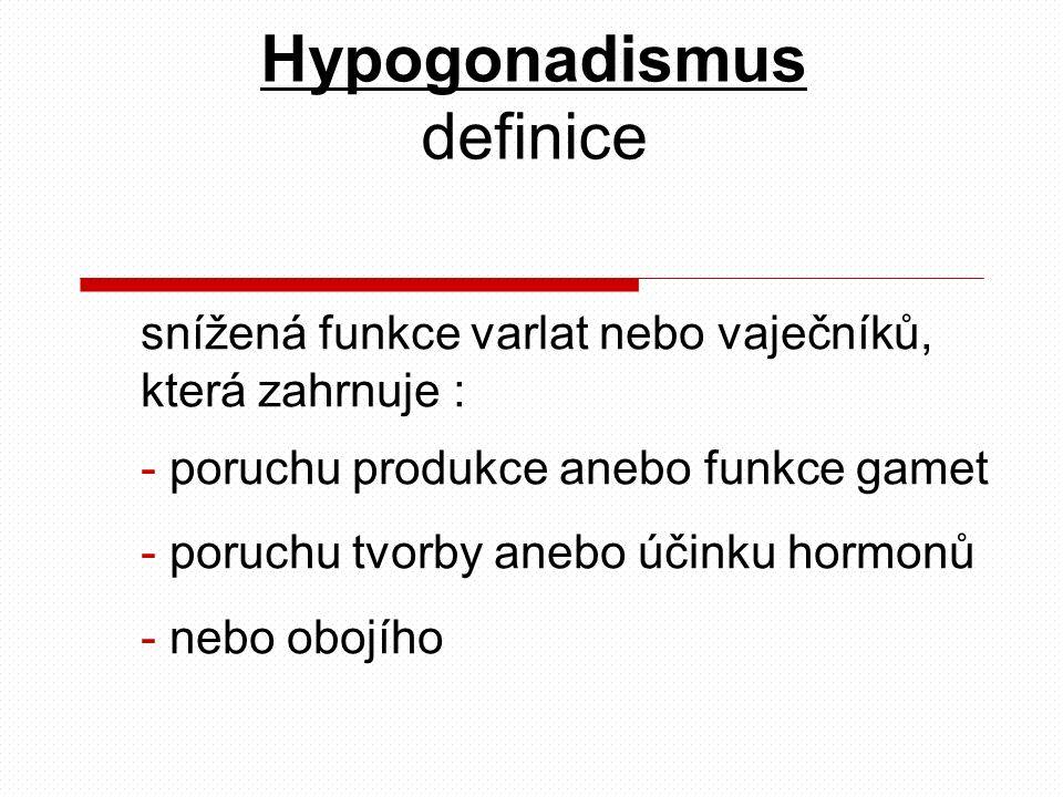snížená funkce varlat nebo vaječníků, která zahrnuje : - poruchu produkce anebo funkce gamet - poruchu tvorby anebo účinku hormonů - nebo obojího Hypogonadismus definice