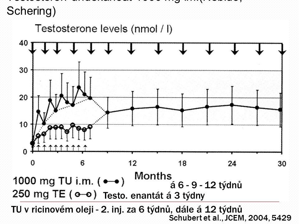 Testosteron undekanoát 1000 mg im.(Nebido, Schering) Schubert et al., JCEM, 2004, 5429 á 6 - 9 - 12 týdnů Testo. enantát á 3 týdny TU v ricinovém olej