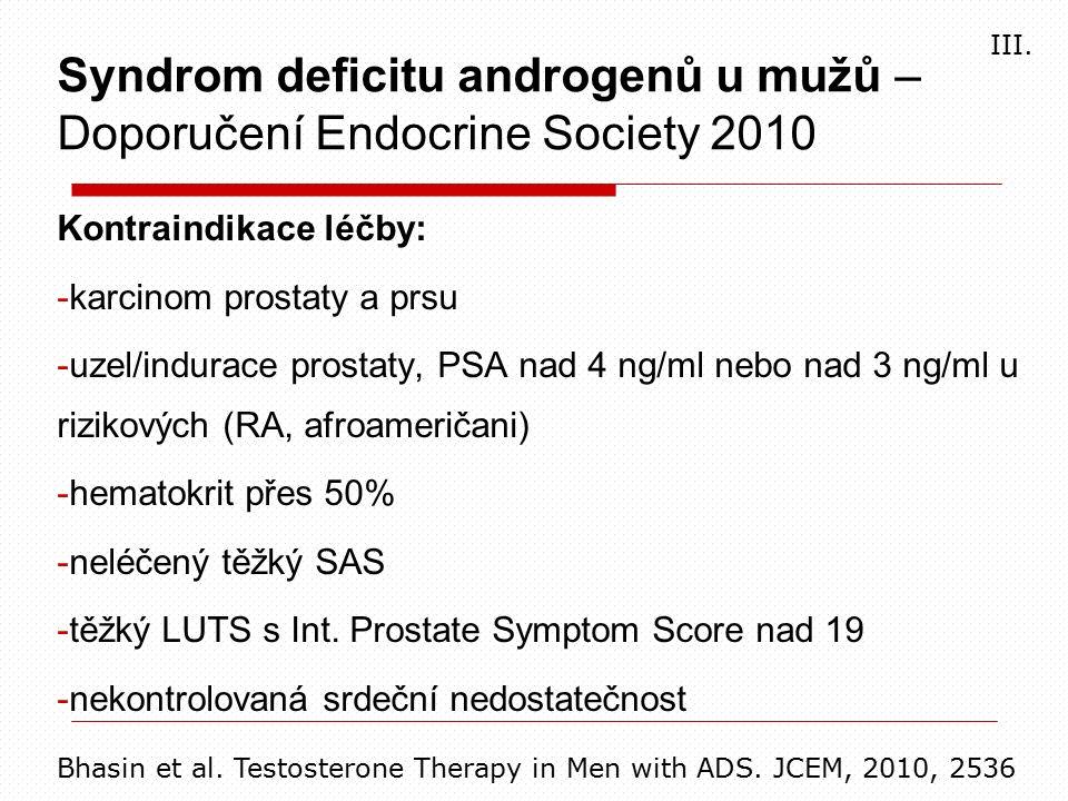 Kontraindikace léčby: -karcinom prostaty a prsu -uzel/indurace prostaty, PSA nad 4 ng/ml nebo nad 3 ng/ml u rizikových (RA, afroameričani) -hematokrit přes 50% -neléčený těžký SAS -těžký LUTS s Int.