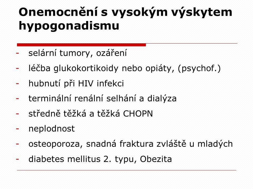 Onemocnění s vysokým výskytem hypogonadismu -selární tumory, ozáření -léčba glukokortikoidy nebo opiáty, (psychof.) -hubnutí při HIV infekci -terminál