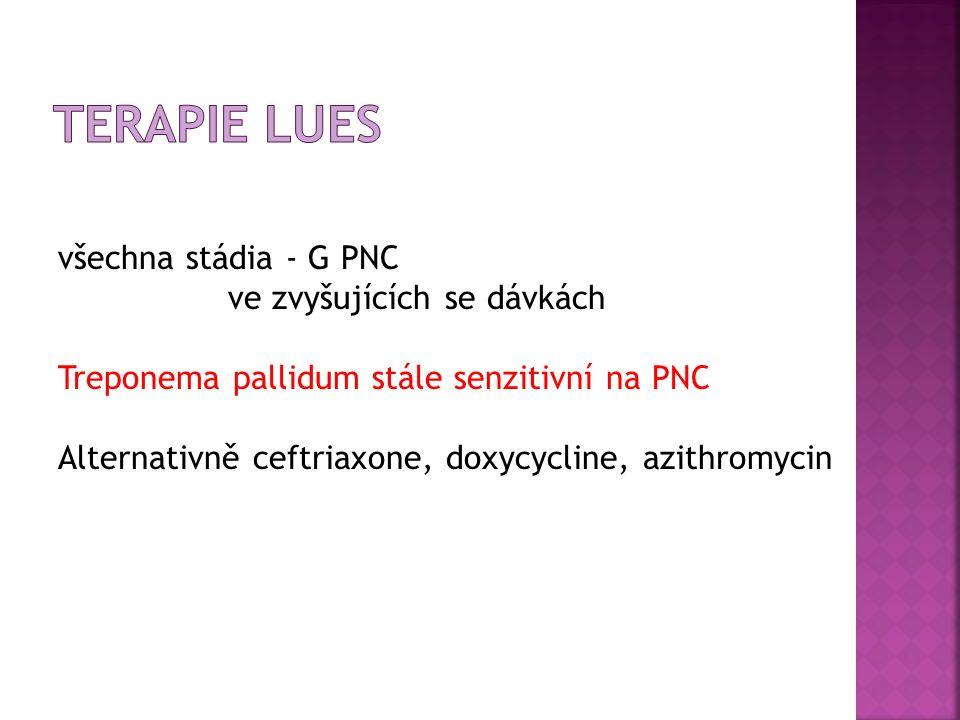 všechna stádia - G PNC ve zvyšujících se dávkách Treponema pallidum stále senzitivní na PNC Alternativně ceftriaxone, doxycycline, azithromycin