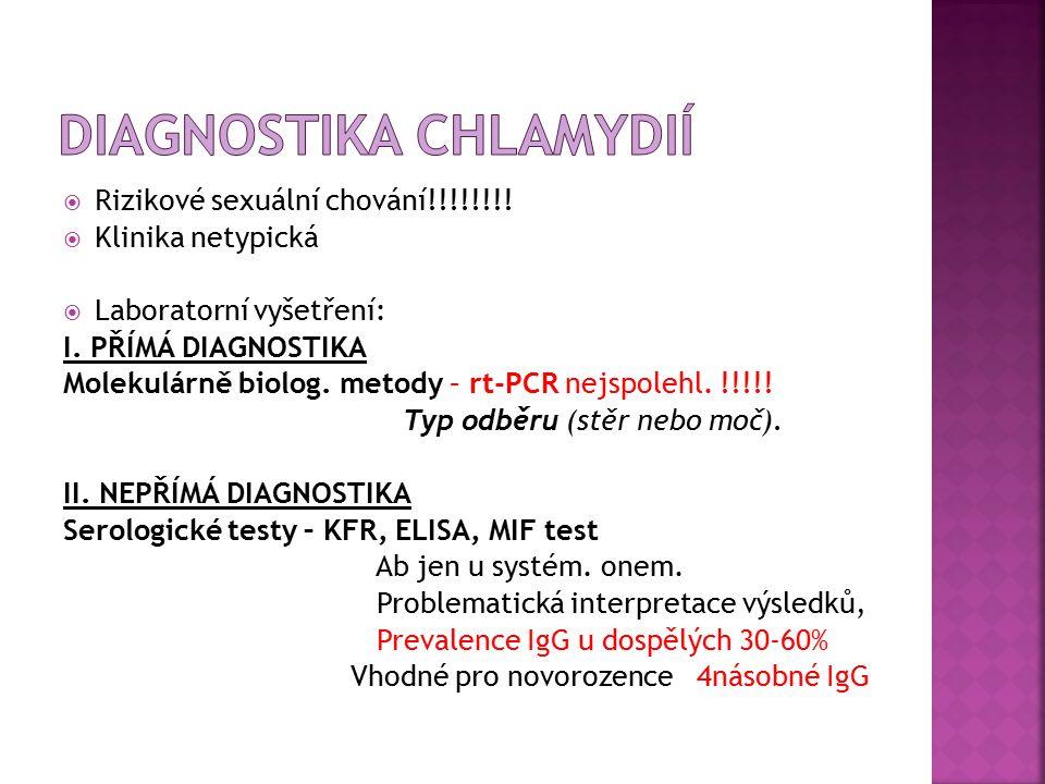  Rizikové sexuální chování!!!!!!!.  Klinika netypická  Laboratorní vyšetření: I.