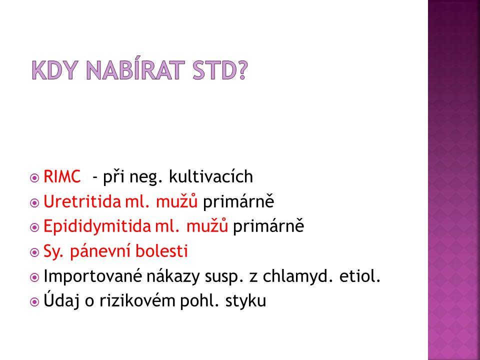 RIMC - při neg. kultivacích  Uretritida ml. mužů primárně  Epididymitida ml.