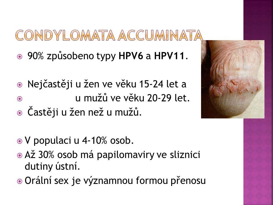  90% způsobeno typy HPV6 a HPV11.