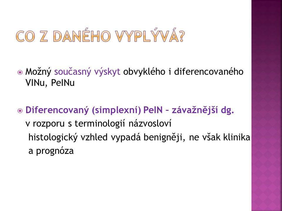  Možný současný výskyt obvyklého i diferencovaného VINu, PeINu  Diferencovaný (simplexní) PeIN – závažnější dg.