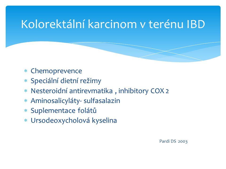  Chemoprevence  Speciální dietní režimy  Nesteroidní antirevmatika, inhibitory COX 2  Aminosalicyláty- sulfasalazin  Suplementace folátů  Ursodeoxycholová kyselina Pardi DS 2003 Kolorektální karcinom v terénu IBD