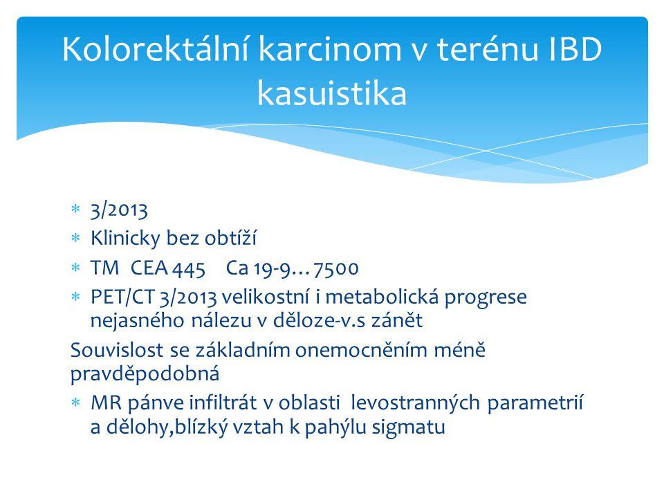  3/2013  Klinicky bez obtíží  TM CEA 445 Ca 19-9…7500  PET/CT 3/2013 velikostní i metabolická progrese nejasného nálezu v děloze-v.s zánět Souvislost se základním onemocněním méně pravděpodobná  MR pánve infiltrát v oblasti levostranných parametrií a dělohy,blízký vztah k pahýlu sigmatu Kolorektální karcinom v terénu IBD kasuistika