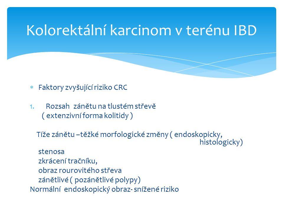  Faktory zvyšující riziko CRC 1.Rozsah zánětu na tlustém střevě ( extenzivní forma kolitidy ) Tíže zánětu –těžké morfologické změny ( endoskopicky, histologicky) stenosa zkrácení tračníku, obraz rourovitého střeva zánětlivé ( pozánětlivé polypy) Normální endoskopický obraz- snížené riziko Kolorektální karcinom v terénu IBD