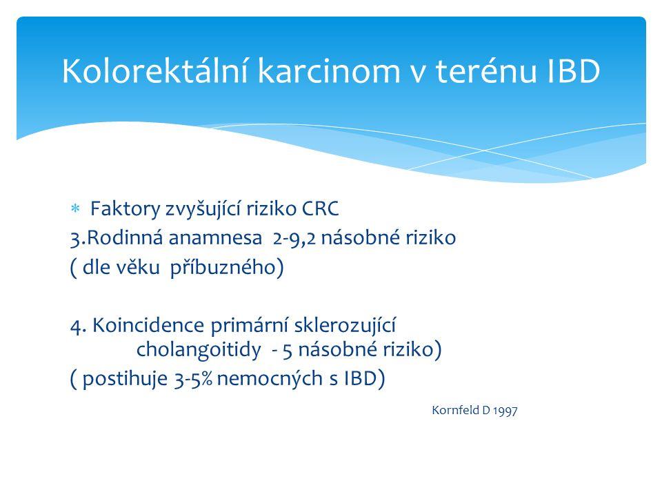  Morfologie preneoplastických lezí  Sporadický KRK –adenomy-dobře odlišitelé a ohraničené oproti normální sliznici KRK v IBD-dysplastické změny ploché leze makroskopicky neodlišitelné od normální sliznice –flat dysplasia DALM (dysplasia associated lession or mass)-makroskopicky patrná leze- extremně vysoký výskyt CRC -indikace ke kolektomii ALM ( adenoma like mass) leze podobná adenomu-ohraničenost- možná endoskopická resekce Kolorektální karcinom v terénu IBD