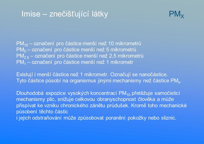 PM 10 – označení pro částice menší než 10 mikrometrů PM 5 – označení pro částice menší než 5 mikrometrů PM 2.5 – označení pro částice menší než 2,5 mikrometrů PM 1 – označení pro částice menší než 1 mikrometr Existují i menší částice než 1 mikrometr.