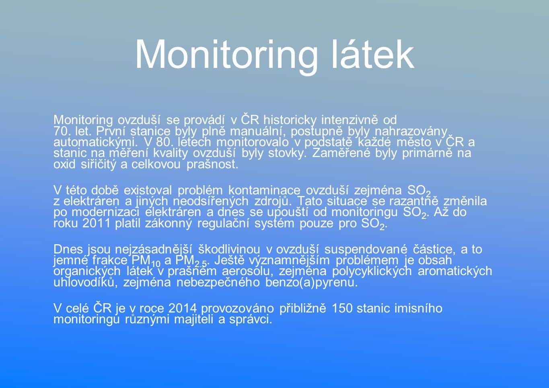 Monitoring látek Monitoring ovzduší se provádí v ČR historicky intenzivně od 70.