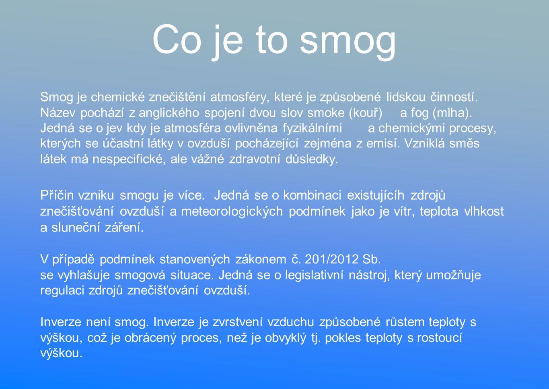 Co je to smog Smog je chemické znečištění atmosféry, které je způsobené lidskou činností.