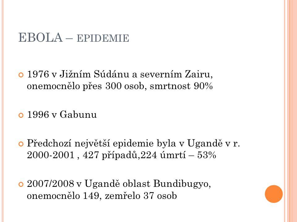 EBOLA – EPIDEMIE 1976 v Jižním Súdánu a severním Zairu, onemocnělo přes 300 osob, smrtnost 90% 1996 v Gabunu Předchozí největší epidemie byla v Ugandě v r.