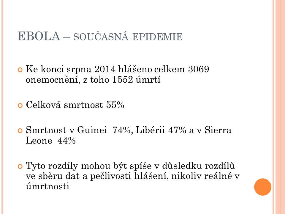 EBOLA – SOUČASNÁ EPIDEMIE Ke konci srpna 2014 hlášeno celkem 3069 onemocnění, z toho 1552 úmrtí Celková smrtnost 55% Smrtnost v Guinei 74%, Libérii 47% a v Sierra Leone 44% Tyto rozdíly mohou být spíše v důsledku rozdílů ve sběru dat a pečlivosti hlášení, nikoliv reálné v úmrtnosti